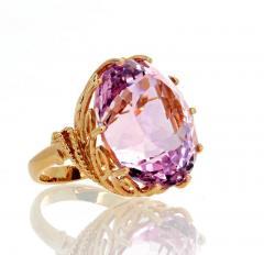 Gemjunky Norris Violet Hue Fine Precious Natural 44 1 Carat Kunzite Gold Cocktail Ring - 1584505