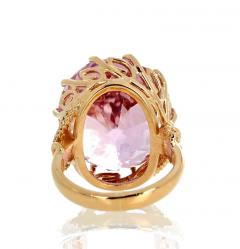 Gemjunky Norris Violet Hue Fine Precious Natural 44 1 Carat Kunzite Gold Cocktail Ring - 1584506