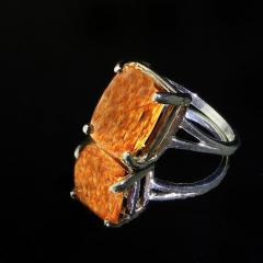 Gemjunky Peach color Imperial Topaz set in Sterling Silver Ring - 1939060