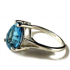 Gemjunky Pear Shape Blue Topaz in Sterling Silver Ring - 1959872