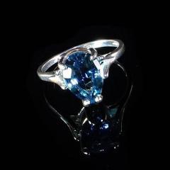 Gemjunky Pear Shape Blue Topaz in Sterling Silver Ring - 1959878