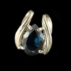 Gemjunky Pear Shaped London Blue Topaz set in Rounded Sterling Silver Pendant - 1949341