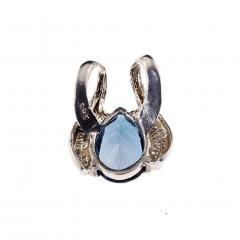 Gemjunky Pear Shaped London Blue Topaz set in Rounded Sterling Silver Pendant - 1949343