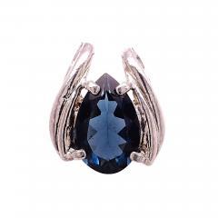 Gemjunky Pear Shaped London Blue Topaz set in Rounded Sterling Silver Pendant - 1949410