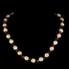 Gemjunky Pearl and Garnet Briolette Choker Necklace - 1792384