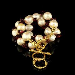 Gemjunky Pearl and Garnet Briolette Choker Necklace - 1792387
