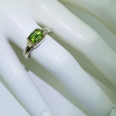 Gemjunky Peridot and Sterling Silver Ring with 18K Gold Accents - 1714930