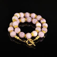 Gemjunky Pink Kunzite with Goldy Accents Necklace - 1792356