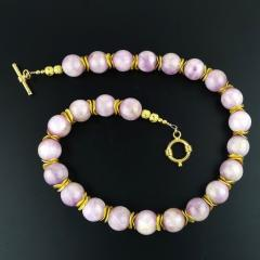 Gemjunky Pink Kunzite with Goldy Accents Necklace - 1792357