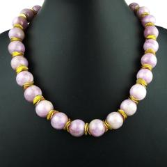 Gemjunky Pink Kunzite with Goldy Accents Necklace - 1792359