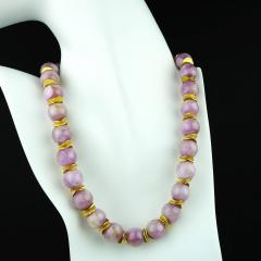 Gemjunky Pink Kunzite with Goldy Accents Necklace - 1792365