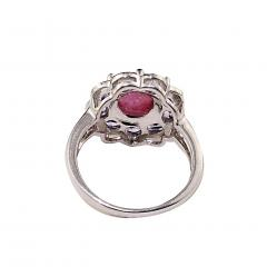 Gemjunky Pink Tourmaline Cabochon in Tanzanite Halo Sterling Silver Ring - 1900155