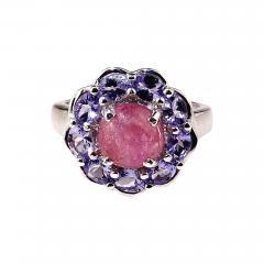 Gemjunky Pink Tourmaline Cabochon in Tanzanite Halo Sterling Silver Ring - 1901848