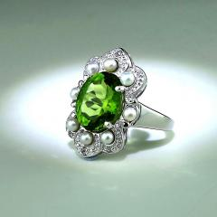 Gemjunky Romantic Peridot in Sterling Silver Ring - 1908966