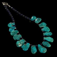 Gemjunky Sleeping Beauty Turquoise Necklace accented with Lapis Lazuli - 1908942