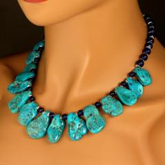 Gemjunky Sleeping Beauty Turquoise Necklace accented with Lapis Lazuli - 1908944