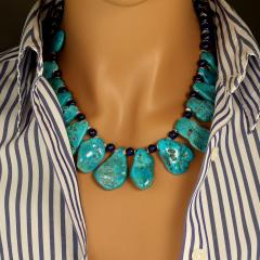 Gemjunky Sleeping Beauty Turquoise Necklace accented with Lapis Lazuli - 1908945