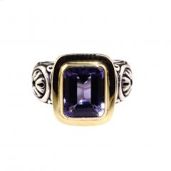 Gemjunky Sparkling Blue Iolite in Sterling Silver and 18K Gold Ring - 1714942