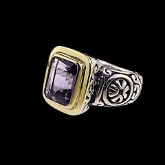 Gemjunky Sparkling Blue Iolite in Sterling Silver and 18K Gold Ring - 1714943