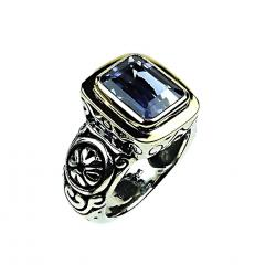 Gemjunky Sparkling Blue Iolite in Sterling Silver and 18K Gold Ring - 1714945