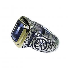 Gemjunky Sparkling Blue Iolite in Sterling Silver and 18K Gold Ring - 1714951