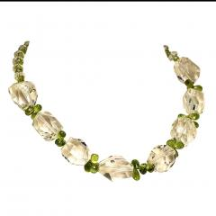 Gemjunky Sparkling Clear Quartz Crystal and Green Peridot Choker Necklace - 1900120