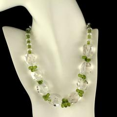 Gemjunky Sparkling Clear Quartz Crystal and Green Peridot Choker Necklace - 1900121