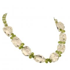 Gemjunky Sparkling Clear Quartz Crystal and Green Peridot Choker Necklace - 1900122