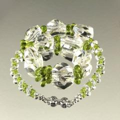 Gemjunky Sparkling Clear Quartz Crystal and Green Peridot Choker Necklace - 1900126