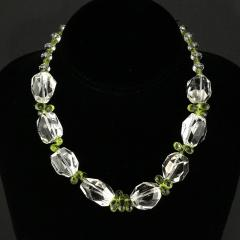 Gemjunky Sparkling Clear Quartz Crystal and Green Peridot Choker Necklace - 1900131