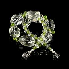 Gemjunky Sparkling Clear Quartz Crystal and Green Peridot Choker Necklace - 1900135