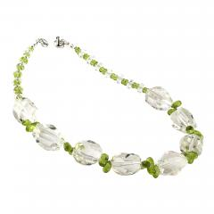 Gemjunky Sparkling Clear Quartz Crystal and Green Peridot Choker Necklace - 1901843