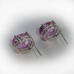 Gemjunky Sparkling Oval Kunzite Sterling Silver Stud Earrings - 1991185