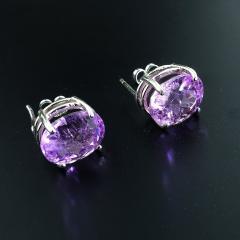 Gemjunky Sparkling Oval Kunzite Sterling Silver Stud Earrings - 1991188