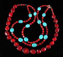 Gemjunky Statement Coral and Turquoise Triple Strand Necklace - 1714909