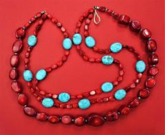 Gemjunky Statement Coral and Turquoise Triple Strand Necklace - 1714910