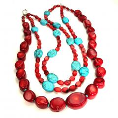 Gemjunky Statement Coral and Turquoise Triple Strand Necklace - 1714911