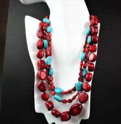 Gemjunky Statement Coral and Turquoise Triple Strand Necklace - 1714912