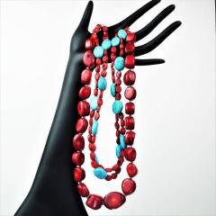 Gemjunky Statement Coral and Turquoise Triple Strand Necklace - 1714914