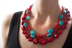Gemjunky Statement Coral and Turquoise Triple Strand Necklace - 1714918