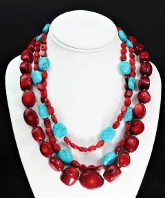 Gemjunky Statement Coral and Turquoise Triple Strand Necklace - 1714919