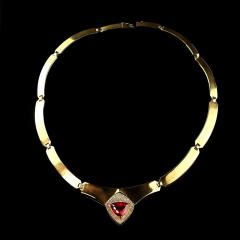Gemjunky Statement Gold Collar with Rubelite and Diamonds - 1714953