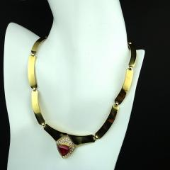 Gemjunky Statement Gold Collar with Rubelite and Diamonds - 1714954