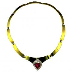 Gemjunky Statement Gold Collar with Rubelite and Diamonds - 1714955