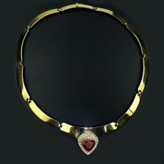 Gemjunky Statement Gold Collar with Rubelite and Diamonds - 1714961