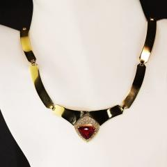 Gemjunky Statement Gold Collar with Rubelite and Diamonds - 1714967