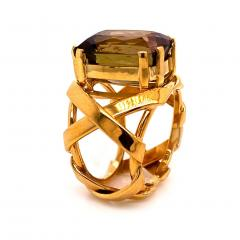 Gemjunky Statement Ring of Andalusite and 18K Yellow Gold - 1701244