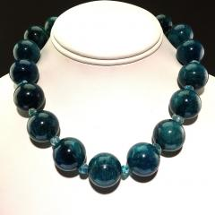Gemjunky Statement Teal color Apatite and Apatite Necklace - 1714916