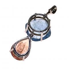 Gemjunky Striking Morganite and Aquamarine and Sterling Silver Pendant - 1714925