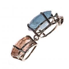 Gemjunky Striking Morganite and Aquamarine and Sterling Silver Pendant - 1714934